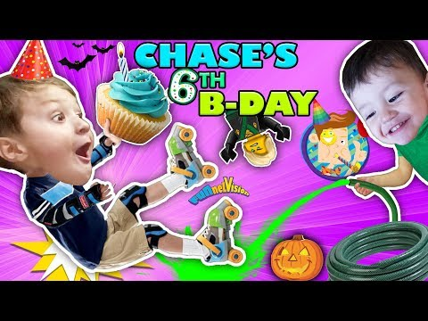 CHASE'S 6th BIRTHDAY! Learning 2 ROLLER SKATE on 1st day of FALL! Ouch! FUNnel Vision Vampire Fangs (видео)
