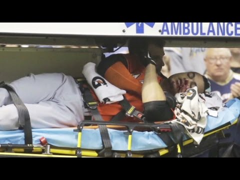 By - Miami Marlins outfielder Giancarlo Stanton suffered facial fractures after being hit by pitch in the face. More from CNN at http://www.cnn.com/ To license th...