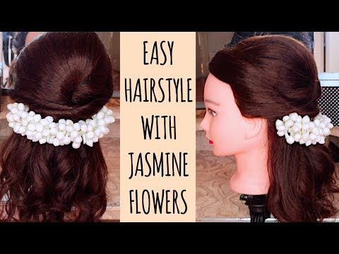 Half Up Half Down Hairstyle With Jasmine Flowersgajra For Tamil