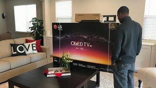 2017 LG 4K HDR OLED E7 Unboxing & Install Brand New LG OLEDE7