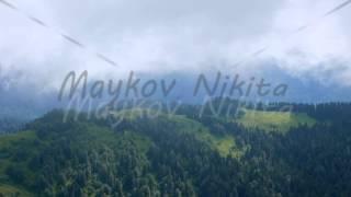 Summer mountain landscape. Ridge Aibga. Sochi, Russia. Time Lapse. 4K