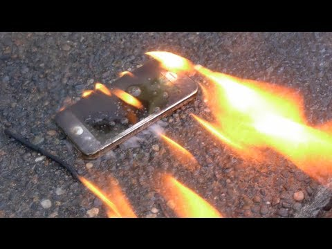 Iphone - Setting a brand new iPhone 5 on fire with some gasoline. Way better than any drop test. Amazingly, I managed to retrieve the actual recording from the iPhone...