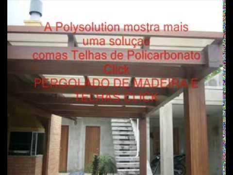 Pergolado de Madeira com Telhas de Policarbonato  Click Cor Pérola - Polysolution