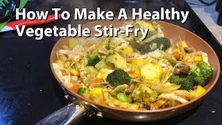 Just one of my favorite healthy combinations for a vegetable stir-fry. This one uses cabbage, carrots, mushrooms, squash, broccoli and salt & pepper - all fried up with olive oil. Usually takes about 5-7 minutes to cook on high or medium-high heat. Great with low-fat, high-protein side like chicken, fish or tofu.
