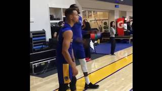 IG/Snapchat Story from Warriors practice day before HOU: Steph Curry, Durant, Draymond, Livingston