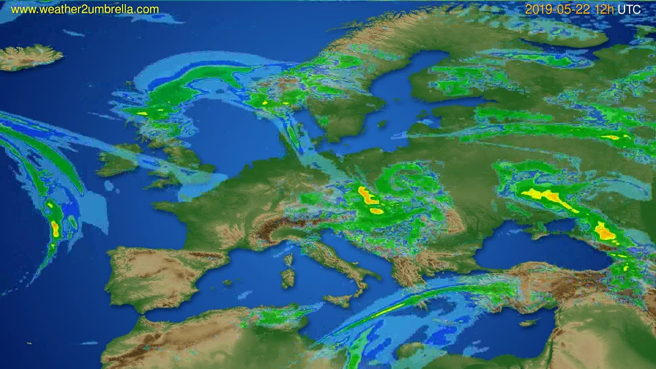 Radar forecast Europe // modelrun: 00h UTC 2019-05-22