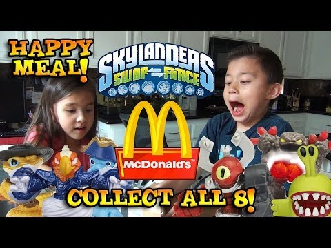 Skylanders Swap Force HAPPY MEAL TOYS from McDonald's – Surprise box unboxing ALL 8 Toys!