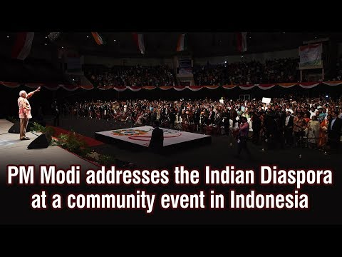 PM Modi addresses the Indian Diaspora at a community event in Indonesia