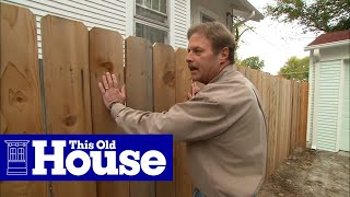 This Old House landscape contractor Roger Cook shows how to enliven a plain fence with climbing vines and flowering plants.