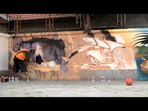 The creation of the graffiti mural