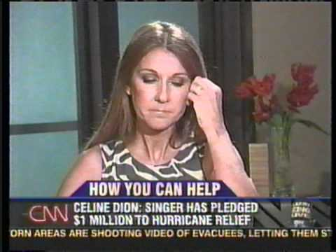 Celine Dion becomes emotional over victims of hurricane katrina