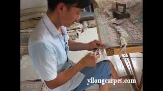 Finishing Of Oriental Handmade Silk Persian Carpet