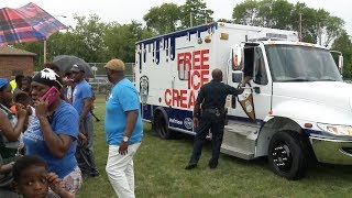 In an effort to foster good relationships, the Milwaukee Police Department teamed up with Pick 'n Save and Kemps to unveil an MPD ice cream truck that will be used at community events throughout the city.  Friday's debut was at the Franklin Square Playground near North Division High School.