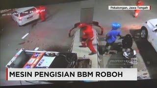 Rekaman CCTV: Mesin Pengisian BBM Roboh, Pelaku Perusakan Kabur
