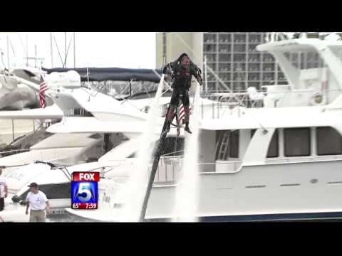 water jetpack - FOX 5 San Diego Morning News. Guy attempting to take off with a water-powered JetPack but hits the kill switch and falls face first into the water on LIVE TV!!