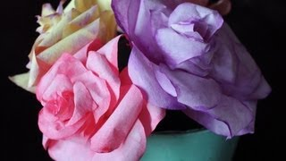 DIY Coffee Filter Roses (free template) - YouTube