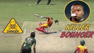 Top 10 Killer Bouncer on Face in Cricket  ► Batsman gets Injured ◄