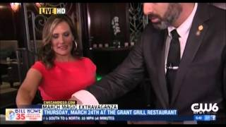Magician/Sommelier Ben Silver on CW News at the Grant Grill performing some sleight of hand.