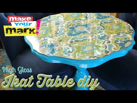 High Gloss Ikat Table DIY With Craft Glaze Coat