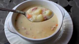 Learn how to make a Ham and Potato Soup Recipe ! - Visit http://foodwishes.blogspot.com/2011/10/ham-and-potato-soup-tuberlicious.html for the ingredients, ...