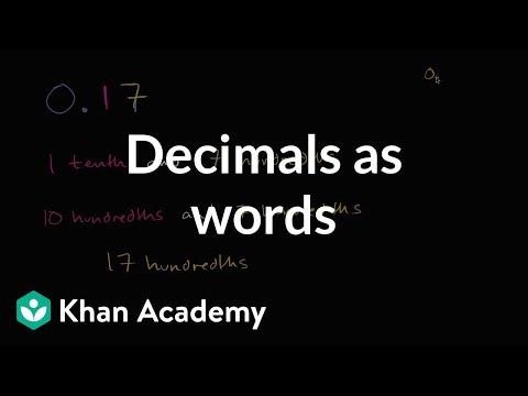 Decimals As Words Video