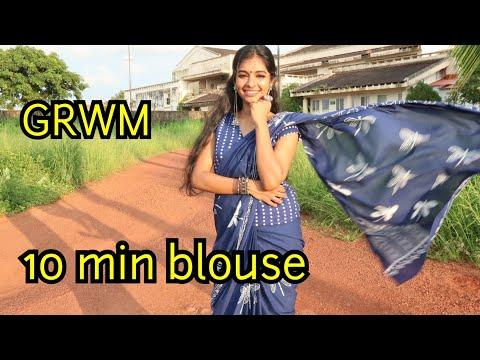 GRWM|Simple cotton saree styling|Makeup, hairstyle|10 min blouse stitching|Asvi be creative