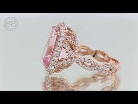 Rose Gold Morganite and Diamond Engagement Ring