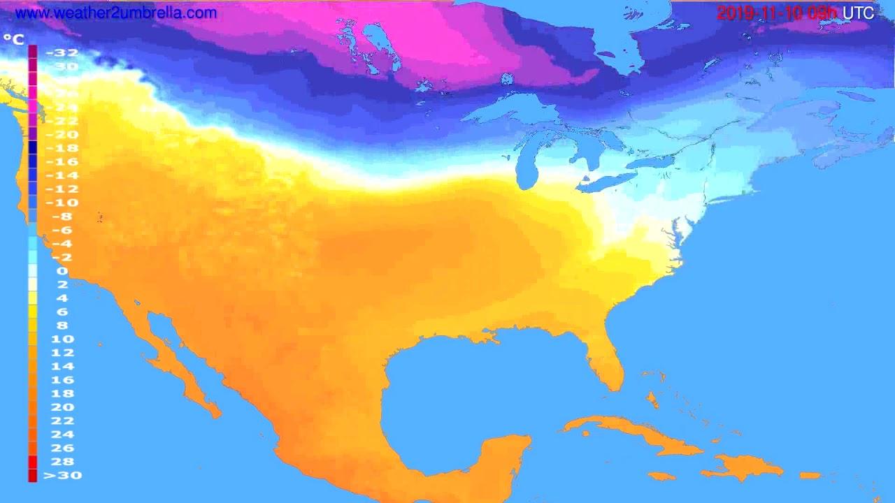 Temperature forecast USA & Canada // modelrun: 00h UTC 2019-11-09