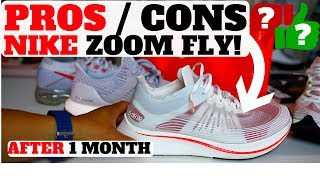 "Shop Nike Zoom Fly Here! http://ebay.to/2sucXZt or http://bit.ly/2t3KAyyWATCH HERE! TOP 5 SNEAKER VIDEOS http://bit.ly/2bBWsR5Shop best sneaker deals of the week here! http://bit.ly/2kuwqFv Business Contact email : heskicks@gmail.comNike Zoom Fly ProsVery light! 8.7 oz (UB is 10.5)Lunarlon foam is massive 33mm stack  IE im tall AF lolFit is tts or snug? TBDComfort level = 9/10Sole is nice! Much better than the Lunarglide 8 / LunarEpic 1/2Traction is goodFull Length Carbon infused nylon plate in midsoleVery smooth transition unlike the VapormaxFlymesh upper Nike Zoom Fly ConsNo Zoom X…looks like, but no.Creases are crazy just after trying on.Shark fin heel = dirt magnet, clunkyNeed more colorwaysInternal cage / tongue can get twisted ZNot Flyknit$150 is a lot, Pegasus is only $110Flyknit Lunarepic only $140 Nike Zoom Fly SPhttp://store.nike.com/us/en_us/pd/zoom-fly-mens-running-shoe/pid-11792723/pgid-11588986 only 8.7 ozPegasus 34 is 10.4Ultra Boost is 10.5 oZ The NikeLab Zoom Fly SP Unisex Running Shoe is designed to meet the demands of your toughest tempo runs, long runs and race day with a responsive construction that turns the pressure of each stride into energy return for the next. This special take on the racer updates the lightweight support system while icons and sketches behind the historic Breaking2 attempt adorn the shoe.POWERFUL, PROPULSIVE FEELA full-length carbon-infused nylon plate within the midsole feels like it propels you forward with every step, so you're just that much closer to your goals.SMOOTH, RESPONSIVE RIDELunarlon cushioning combines soft and firm foam for a balance of shock absorption, stability and response, without sacrificing comfort.LIGHTWEIGHT SUPPORTA translucent, stretch-woven upper delivers lightweight breathability, while a soft, microsuede arch band provides support and stability for your most challenging miles.MORE DETAILS·  Reinforced rubber heel for lasting durability·  Offset: 10mm·  Weight: 8.75 ounces (men's size 10)ABOUT THE NIKELAB ZOOM FLY SPThe NikeLab Zoom Fly SP celebrates the relentless innovation behind Breaking2, Nike's moon-shot to break the 2-hour marathon barrier. Conceived from the initial phases of testing in the Breaking2 journey, the silhouette is inspired by the breakthrough foam/plate midsole of the Nike Zoom VaporFly 4%, and commemorates Nike Running heritage, Breaking2 and the researchers and athletes that would immortalize it. In celebration of Breaking2, Nike's innovation project to break the two-hour marathon barrier, Nike will release the NikeLab Zoom Fly SP — a model capturing the early prototype phase of Breaking2 footwear — with added design elements that indicate how the shoe developed. It features a translucent, stretch-woven upper that's lightweight and breathable, original designer sketches on the sockliner and running-focused graphics on the tongue, upper and midsole. The NikeLab Zoom Fly SP is fast enough for race day, yet durable enough for everyday training. Ultra-lightweight, soft and highly resilient Lunarlon foam creates a light, responsive underfoot experience, while an embedded, full-length, carbon-infused nylon plate increases stiffness. A high abrasion rubber in the heel adds durability. The shoe's 10mm offset is designed to minimize Achilles strain, and the 33-mm stack height ensures impact protection mile after mile.Below, a breakdown of the design:The inner left side of the tongue has text referring to the prototype design's specifications. The inner right side of the tongue has space for the wearer to fill in the Trial No., Location and Time of their own fastest running attempts. The digital clock graphic on the heel references the brave attempt to break the two-hour marathon barrier and also nods to the original Nike Zoom Mayfly. SWOOSH PINWHEEL ICONCreated in 1976 by Nike's first employee, Jeff Johnson, who fanned out the Swoosh to make a sunburst designSPEED TRACK ICONReferences the speed and elegance of auto racing at Autodromo Nationale Monza in Italy, where Breaking2 took place on May 6, 2017FINISH CHECKER ICONReferences the flags present at marathon finish linesDIGITAL CLOCK GRAPHICReferences the brave attempt to break the two-hour marathon barrier and also nods to the original Nike Zoom MayflyINTERIOR TONGUE GRAPHICSAugust 2015: The month and year the design was initiatedALTRNT MAT V2: Indicating this is the second version of this translucent alternate materialSTRETCH WVN: To communicate the material is stretch wovenEMB: The upper is also embroideredSummer 2017: The season of the shoe's release""FAST"" TEXT ON THE HEELFAST: Indicates the shoe is part of Nike's FAST running seriesINNOV CNCPT: Shows that it is an innovation conceptDSGN V7.2: Means this is the seventh iteration and second material direction of the upper design http://news.nike.com/news/nikelab-zoom-fly-sp"