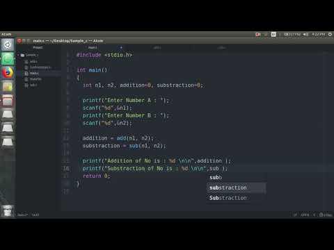 Multifile C Program Using Makefile - Atom Editor (Ubuntu Platform)