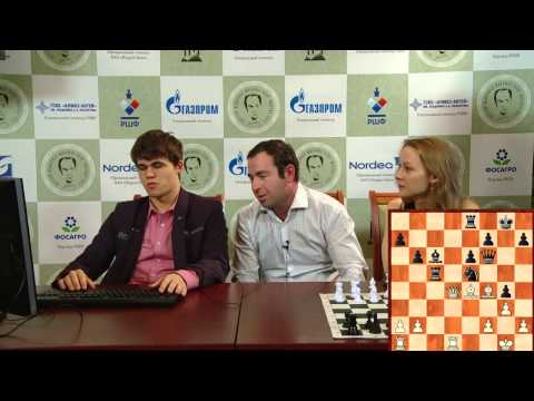 Tal Memorial, 2011. Round 9. Magnus Carlsen commenting on his win against Hikaru Nakamura
