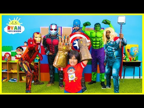 Ryan and Marvel Avengers EndGame Superheroes finds Infinity Stones