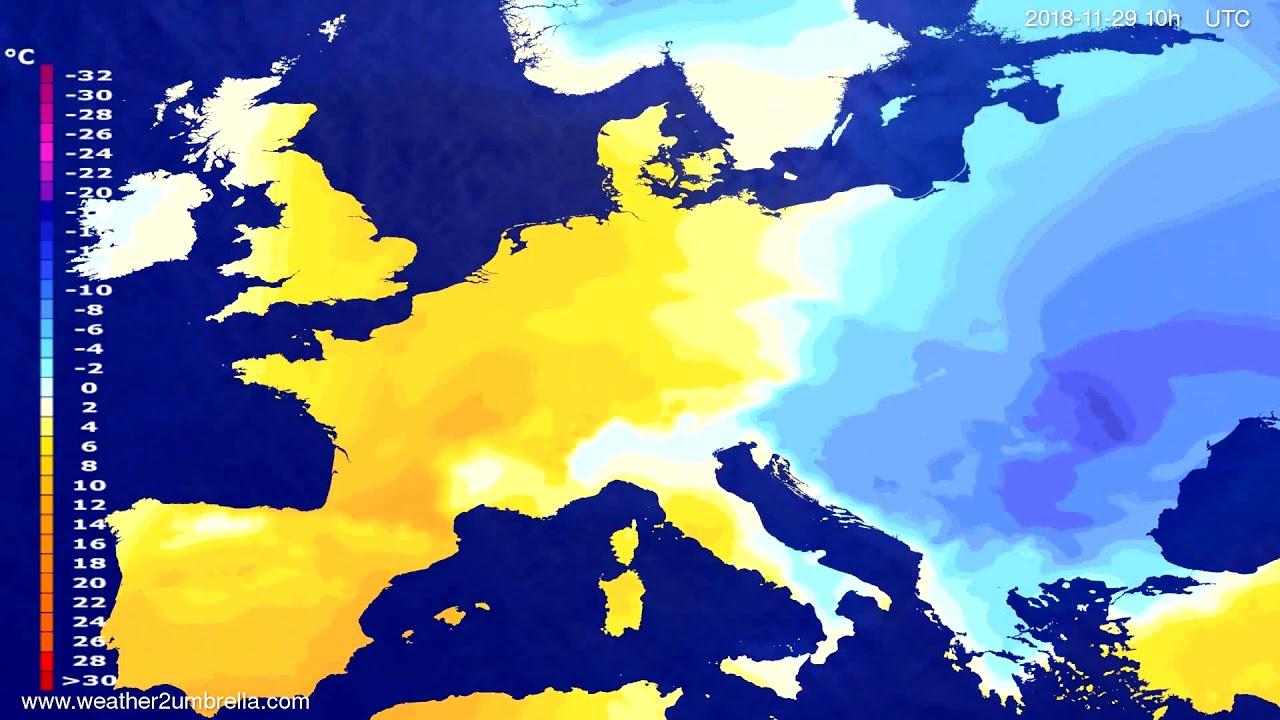 Temperature forecast Europe 2018-11-26