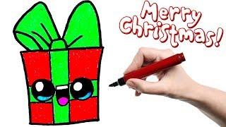 Видео: как нарисовать рождественский подарок с глазками