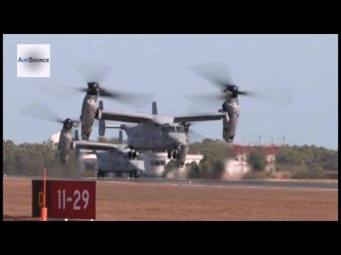 MV-22B Ospreys and CH-53E Super...