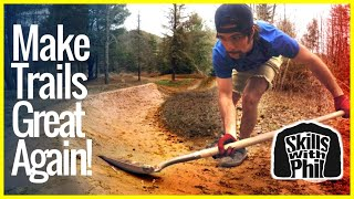 How to build and shape mountain bike berms. After nasty weather mountain bike trail features need to be maintained properly. Today we're shaping and building buttery smooth mountain bike berms like you'd find on a slalom course or BMX trails. For more Skills with Phil SUBSCRIBE ▶︎ http://PhilKmetz.com/subscribeMost Recent Video ▶︎ https://goo.gl/10Kw6dRemedy last Ride ▶︎ https://youtu.be/znEw3PIZAEE?list=PLKhb73W7eMREOqKUAP4u-qXKzvgUy0zGWEvil Calling ▶︎ https://www.youtube.com/watch?v=5irX8yVn0uw&list=PLKhb73W7eMREOqKUAP4u-qXKzvgUy0zGW&index=2Raleigh Tokul ▶︎ https://youtu.be/aR2oLA9mSXw?list=PLKhb73W7eMREOqKUAP4u-qXKzvgUy0zGWHuffy Carnage ▶︎ https://youtu.be/wkMnk_eCDQU?list=PLKhb73W7eMREOqKUAP4u-qXKzvgUy0zGWBunny Hop Tutorial  ▶︎ https://youtu.be/hdUGWeRQ2IU?list=PLKhb73W7eMRF1KO3T5Iz2pks-8SrLybw7Support Skills with PhilPatreon ▶︎ https://www.patreon.com/SkillswithPhilPatreon enables fans to directly support the creators they love. There are varying support levels, and each has its own reward as a token of appreciation. Supporting what I do is completely voluntary and you should only contribute if you want to help create even more awesome content.SocialInstagram ▶︎  http://Philkmetz.com/instagramFacebook  ▶︎ http://Philkmetz.com/facebookTwitter ▶︎ http://Philkmetz.com/twitter Snapchat ▶︎ https://www.snapchat.com/add/philkmetzStrava ▶︎ https://www.strava.com/athletes/942089Riding GearHelmet ▶︎  http://amzn.to/2dNfYtlKnee Pads ▶︎ http://amzn.to/2dvc3UlShoes ▶︎  http://amzn.to/2dx9xMLSocks ▶︎ http://amzn.to/2dURuPBBike checksEvil Calling ▶︎https://youtu.be/5irX8yVn0uw?list=PLKhb73W7eMREOqKUAP4u-qXKzvgUy0zGWTrek Remedy ▶︎ https://youtu.be/7g0q-Ae8WWs?list=PLKhb73W7eMREOqKUAP4u-qXKzvgUy0zGWRaleigh Tokul ▶︎ https://youtu.be/3SvBviCq3fQ?list=PLKhb73W7eMREOqKUAP4u-qXKzvgUy0zGWDirt Jumper ▶︎ https://youtu.be/jxM8jlieg2A?list=PLKhb73W7eMREOqKUAP4u-qXKzvgUy0zGWCamera GearPrimary GoPro ▶︎ http://amzn.to/2jGPKfDBackup GoPro ▶︎ http://amzn.to/2dhcZZJGoPro AccessoriesGoPro Stabi