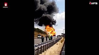 Incendio de camión cargado de pentano líquido en la A-1 en Burgos