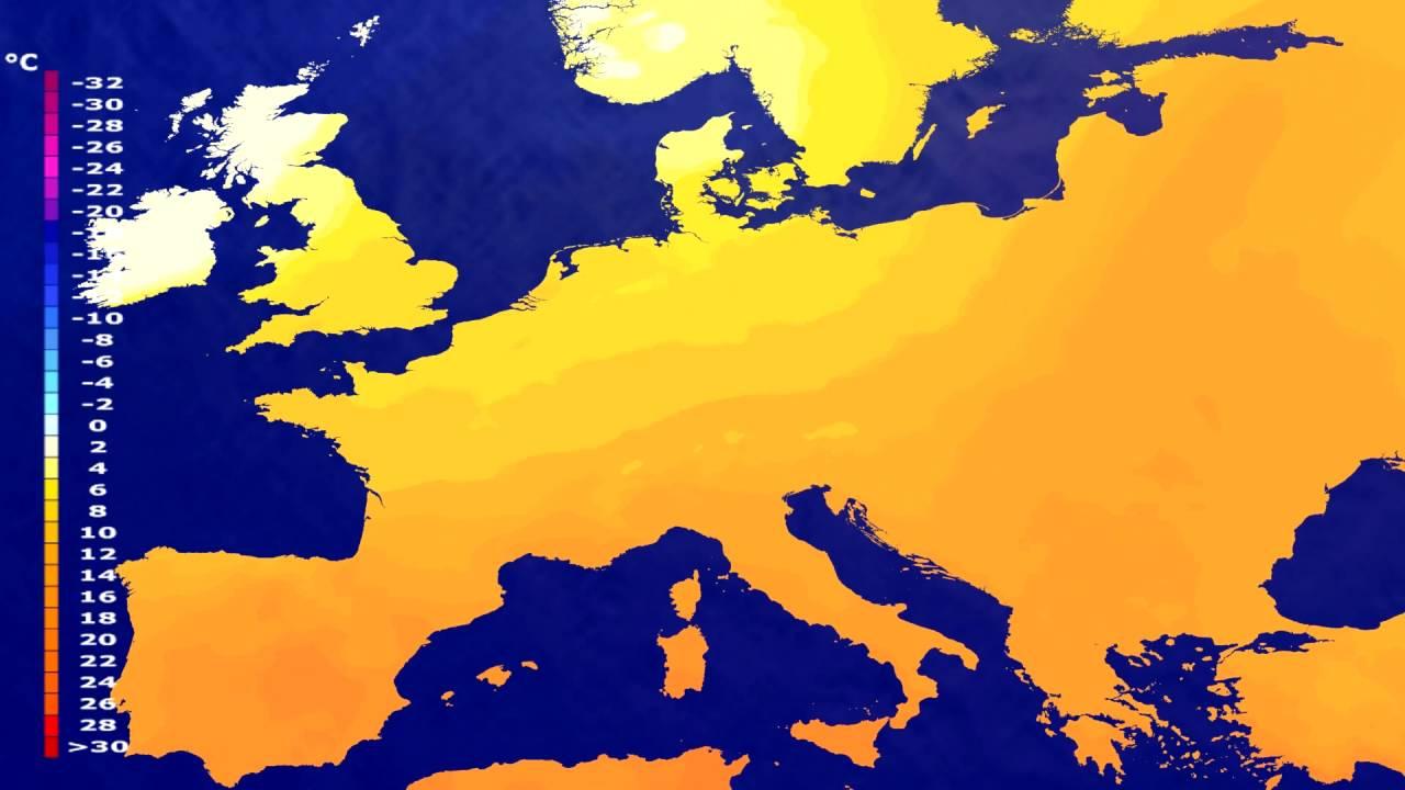Temperature forecast Europe 2016-06-27