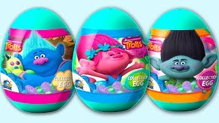 """Unwarping 3 different blue plastic surprise eggs from the Dreamworks Trolls series. Inside these plastic eggs you can find a toy with sticker and cookies. Only awesome Trolls toys heroes are waiting for you.Music:""""Chipper Doodle v2"""" Kevin MacLeod (incompetech.com)Licensed under Creative Commons: By Attribution 3.0http://creativecommons.org/licenses/by/3.0/© Surprise Eggs SHOW: http://youtube.com/user/SurpriseEggsSHOW******************Watch these videos******************30 Jajko Niespodzianka Masza i Niedzwiedz Minionki Kinder Niespodzianki Auta Trolls Frozen Jajkahttps://youtu.be/73bpxpO9r-w8 Racing Cars Kinder Surprise, 2 Packs of Surprise Eggs, Sprinty Cars, Hot Wheels surprise toyshttps://youtu.be/caLAjIHWRVQ8 Jajko Niespodzianka Masza i Niedzwiedz Kinder Niespodzianka Маша и Медведь Jajka 2017https://youtu.be/z69v5RCMxJs"""