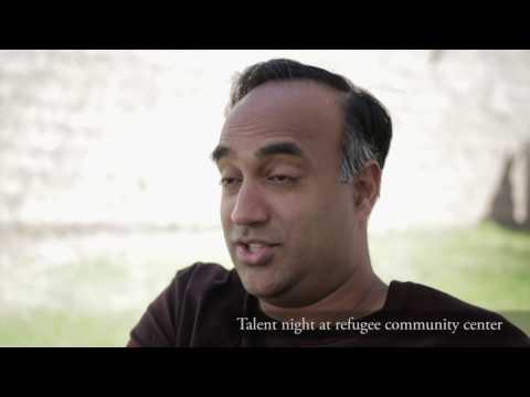 Talent night at refugee community center