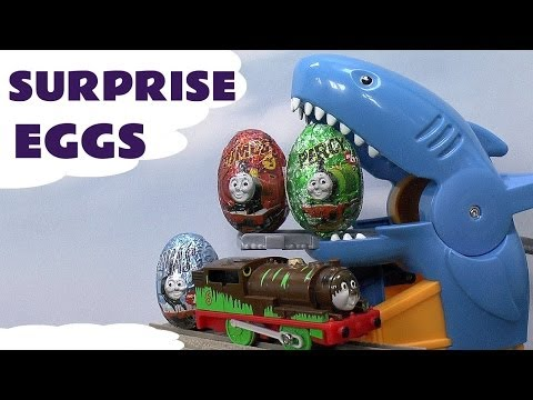 Surprise Egg Thomas The Tank Unboxing like Kinder Egg Surprise Toys Shark Attack Set Percy James