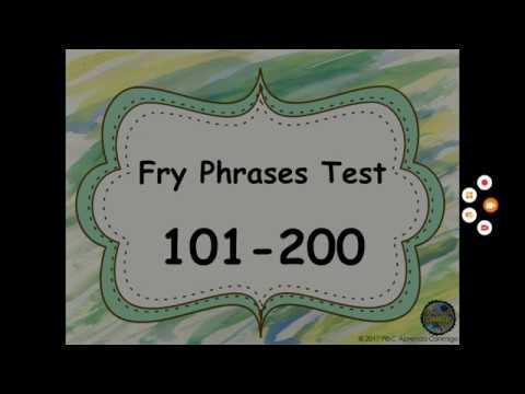 Fry Phrases Assessment 101 200