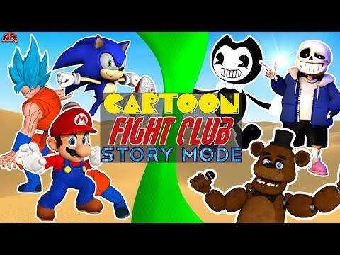 Cartoon Fight Club STORY MODE! Poster Boy Free for All! (Sonic vs Mario, Sans, Freddy, Bendy, Goku)