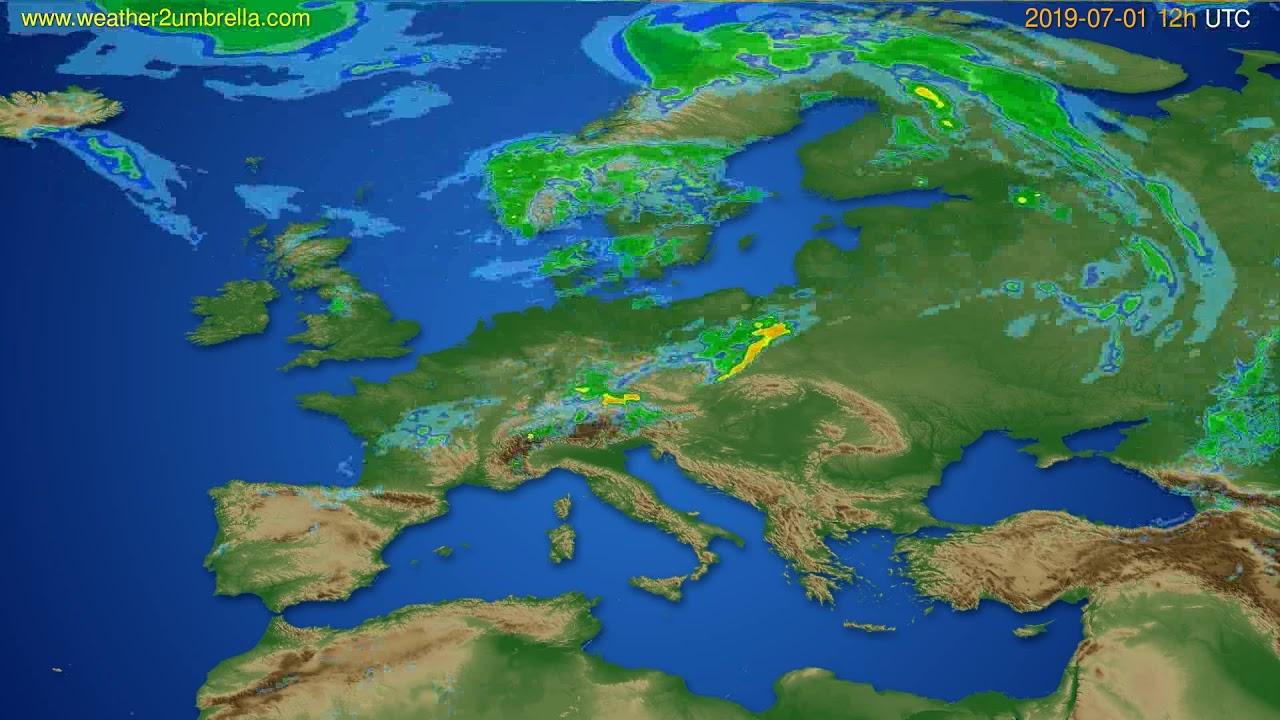 Radar forecast Europe // modelrun: 00h UTC 2019-07-01