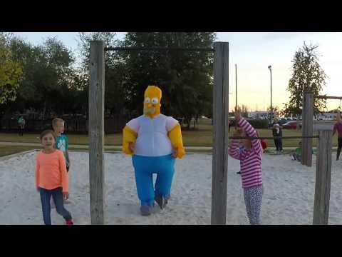 Homer Simpson inflatable costume and gopro camera