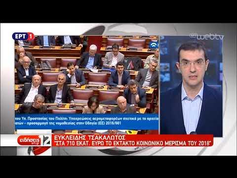 Τροπολογίες για έκτακτο κοινωνικό μέρισμα και μείωση του ΕΝΦΙΑ | 28/11/18 | ΕΡΤ
