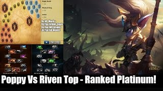 Poppy is very good vsing a majority of top laners. She can easily gap close and beat almost anyone in 1v1's as long as you're paying attention to your passive shield.I would recommend poppy vsing these champs.RivenXinYasuoGarenIreliaThere are others but those are the main ones she almost always beats.