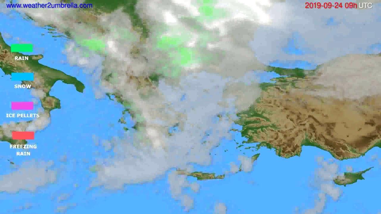 Precipitation forecast Greece // modelrun: 12h UTC 2019-09-22