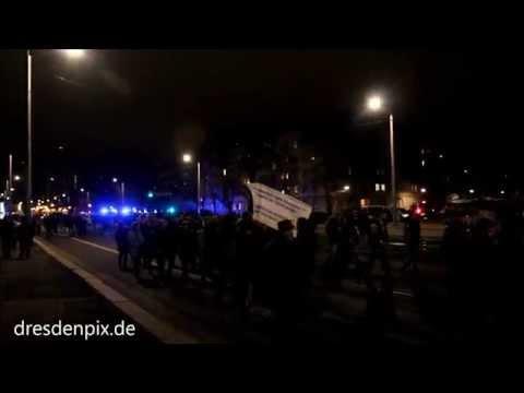Dresden 2014: Pegida 17.000 Menschen auf der Montag ...