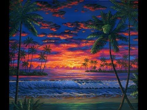 חוף ים - איך לצייר חוף ים בשעה בין הערבים באמצעות אקריליק על בד.